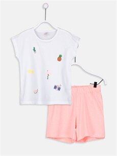 Beyaz Kız Çocuk Pamuklu Pijama Takımı 9SG963Z4 LC Waikiki
