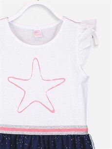 Kız Çocuk Kız Çocuk Eteği Tüllü Pamuklu Elbise