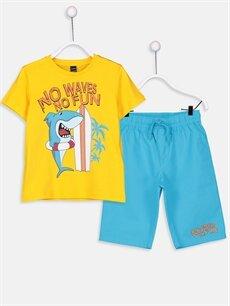 Sarı Erkek Çocuk Pamuklu Tişört ve Şort 9SH906Z4 LC Waikiki