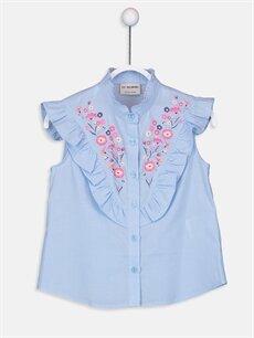 Mavi Kız Çocuk Nakış ve Fırfır Detaylı Poplin Gömlek 9SI003Z4 LC Waikiki
