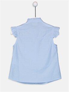 %100 Pamuk Desenli Standart Kısa Kol Kız Çocuk Nakış ve Fırfır Detaylı Poplin Gömlek