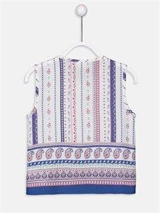 %100 Viskoz Standart Gömlek Desenli Kolsuz Kız Çocuk Desenli Viskon Gömlek