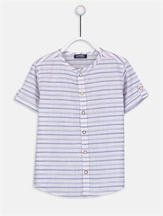 Mor Erkek Çocuk Çizgili Poplin Gömlek 9SI300Z4 LC Waikiki