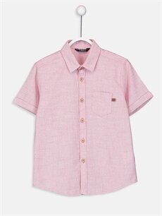 Pembe Erkek Çocuk Kısa Kollu Poplin Gömlek 9SI350Z4 LC Waikiki