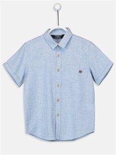 Mavi Erkek Çocuk Kısa Kollu Poplin Gömlek 9SI350Z4 LC Waikiki
