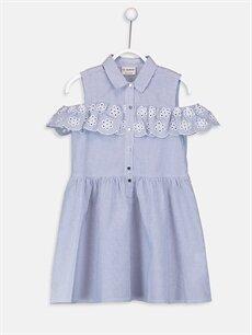 Mavi Kız Çocuk Omuzu Açık Poplin Elbise 9SI764Z4 LC Waikiki