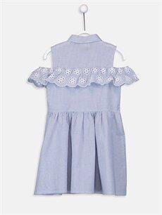 %100 Pamuk Diz Üstü Çizgili Kız Çocuk Omuzu Açık Poplin Elbise