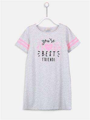 Kız Çocuk Yazı Baskılı Örme Elbise - LC WAIKIKI