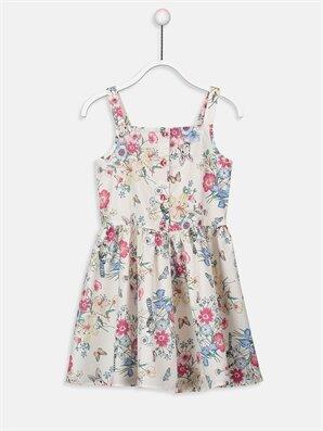 Kız Çocuk Çiçekli Poplin Elbise - LC WAIKIKI