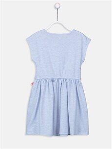 %94 Pamuk %6 Polyester Diz Üstü Desenli Kız Çocuk Çiçek Baskılı Örme Elbise