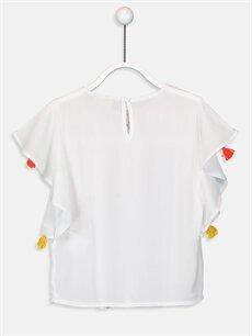 %100 Viskoz Standart Bluz Desenli Kısa Kol Kız Çocuk Baskılı Viskon Bluz