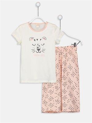 Kız Çocuk Baskılı Organik Pamuklu Pijama Takımı - LC WAIKIKI