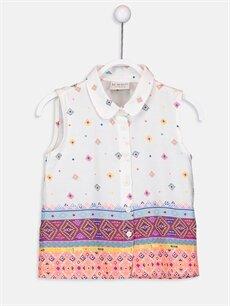 Beyaz Kız Çocuk Desenli Viskon Gömlek 9SN997Z4 LC Waikiki
