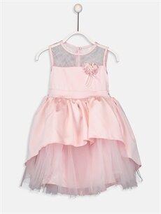 Pembe Kız Çocuk Çiçek Aplikeli Tüllü Elbise 9SP359Z4 LC Waikiki