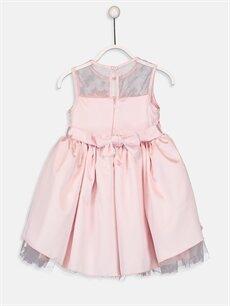 %97 Poliester %3 Elastan %100 Polyester Diz Üstü Düz Kız Çocuk Çiçek Aplikeli Tüllü Elbise