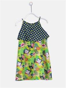 Yeşil Kız Çocuk Puantiye ve Çiçek Desenli Pamuklu Elbise 9SQ569Z4 LC Waikiki