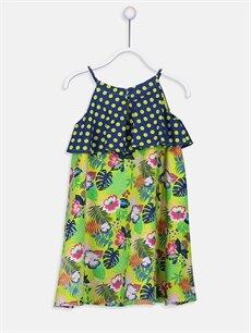 %100 Pamuk Diz Üstü Desenli Kız Çocuk Puantiye ve Çiçek Desenli Pamuklu Elbise