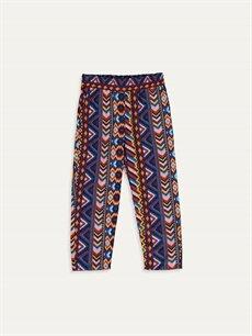 Turuncu Kız Çocuk Desenli Viskon Pantolon 9SQ703Z4 LC Waikiki