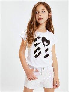 %66 Pamuk %30 Polyester %4 Elastan Kız Çocuk Pul İşlemeli Gabardin Şort