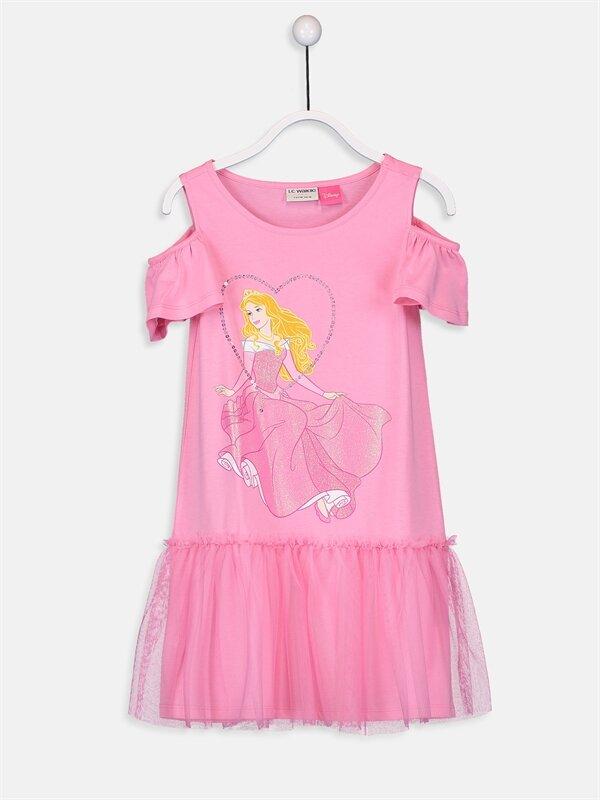 Kız Çocuk Sindirella Baskılı Pamuklu Elbise - LC WAIKIKI