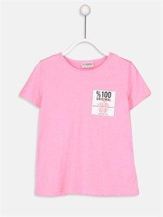Pembe Kız Çocuk Baskılı Pamuklu Tişört 9SS739Z4 LC Waikiki