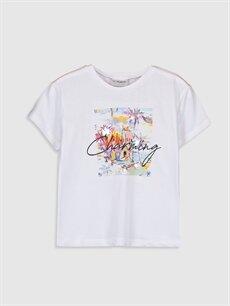 Beyaz Kız Çocuk Baskılı Pamuklu Tişört 9SU422Z4 LC Waikiki
