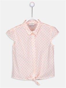 Beyaz Kız Çocuk Baskılı Poplin Gömlek 9SV089Z4 LC Waikiki