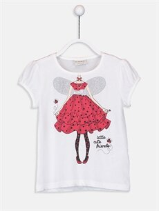 Beyaz Kız Çocuk Baskılı Tişört 9SY095Z4 LC Waikiki