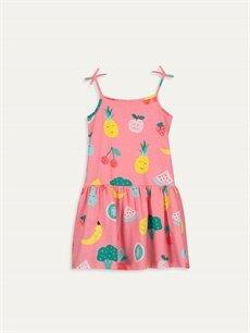 %100 Pamuk Diz Üstü Desenli Kız Çocuk Baskılı Elbise