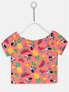 Mercan Kız Çocuk Minnie Mouse Pamuklu Tişört 9SY786Z4 LC Waikiki