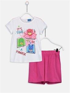 Beyaz Kız Çocuk Pijamaskeliler Pamuklu Pijama Takımı 9SY823Z4 LC Waikiki