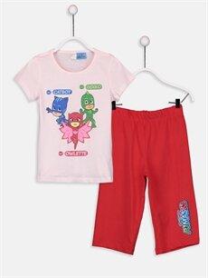 Pembe Kız Çocuk Pijamaskeliler Pamuklu Pijama Takımı 9SY824Z4 LC Waikiki