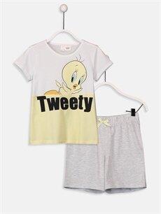 Beyaz Kız Çocuk Tweety Pamuklu Pijama Takımı 9SY837Z4 LC Waikiki