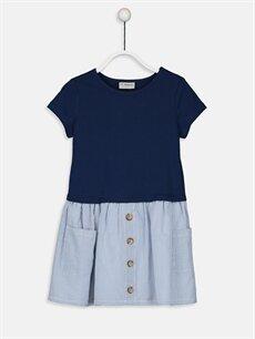 Lacivert Kız Çocuk Çizgili Pamuklu Elbise 9SY889Z4 LC Waikiki