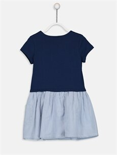 %100 Pamuk %100 Pamuk Diz Üstü Çizgili Kız Çocuk Çizgili Pamuklu Elbise