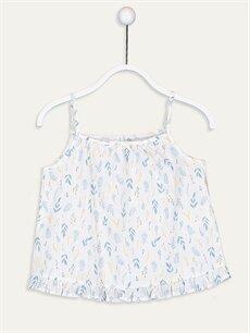Ekru Kız Çocuk Desenli Poplin Bluz 9SY929Z4 LC Waikiki