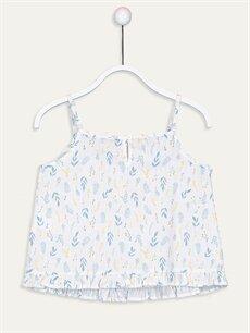 %100 Pamuk Standart Desenli Kolsuz Bluz Kız Çocuk Desenli Poplin Bluz