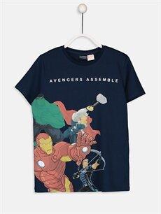 Lacivert Erkek Çocuk Avengers Pamuklu Tişört 9SA345Z4 LC Waikiki