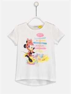 Ekru Kız Çocuk Minnie Mouse Pamuklu Tişört 9SA464Z4 LC Waikiki