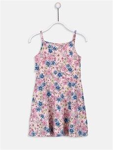 %96 Pamuk %3 Polyester %1 Elastan Diz Üstü Desenli Kız Çocuk Çiçekli Pamuklu Elbise