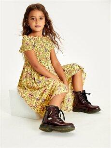 %100 Viskoz Kız Çocuk Çiçekli Viskon Elbise