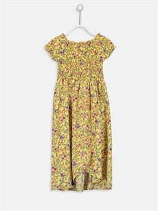 Sarı Kız Çocuk Çiçekli Viskon Elbise 9SA792Z4 LC Waikiki