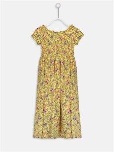 %100 Viskoz Diz Altı Desenli Kız Çocuk Çiçekli Viskon Elbise
