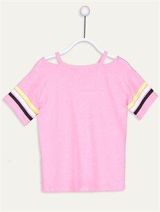 %50 Pamuk %50 Polyester Baskılı Tişört Kısa Kol Standart Kız Çocuk Baskılı Tişört