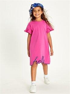 %100 Pamuk Kız Çocuk Nakışlı Fırfır Detaylı Elbise