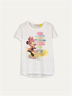 Ekru Kız Çocuk Minnie Mouse Baskılı Tişört 9SA959Z4 LC Waikiki