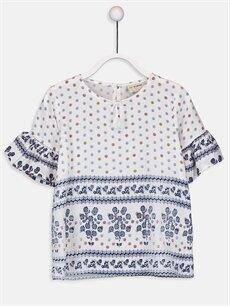Beyaz Kız Çocuk Desenli Viskon Bluz 9SB196Z4 LC Waikiki