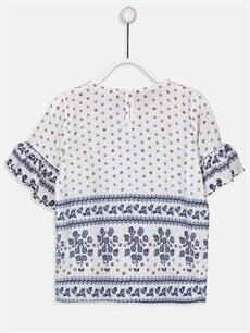 %100 Viskoz Desenli Kısa Kol Bluz Standart Kız Çocuk Desenli Viskon Bluz