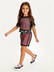 Siyah Kız Çocuk Fileli Tişört ve Atlet 9SB800Z4 LC Waikiki