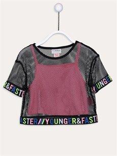 %100 Polyester Standart Bisiklet Yaka Kısa Kol Kız Çocuk Fileli Tişört ve Atlet